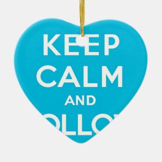Blue Keep Calm and Follow Me Ceramic Heart Decoration