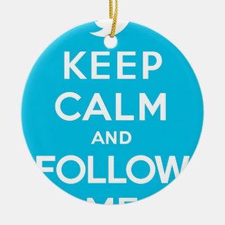Blue Keep Calm and Follow Me Round Ceramic Decoration