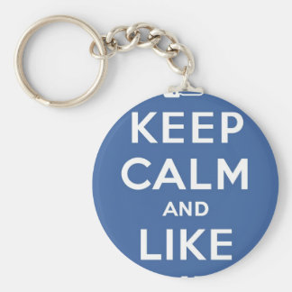 Blue Keep Calm And Like Me Basic Round Button Key Ring