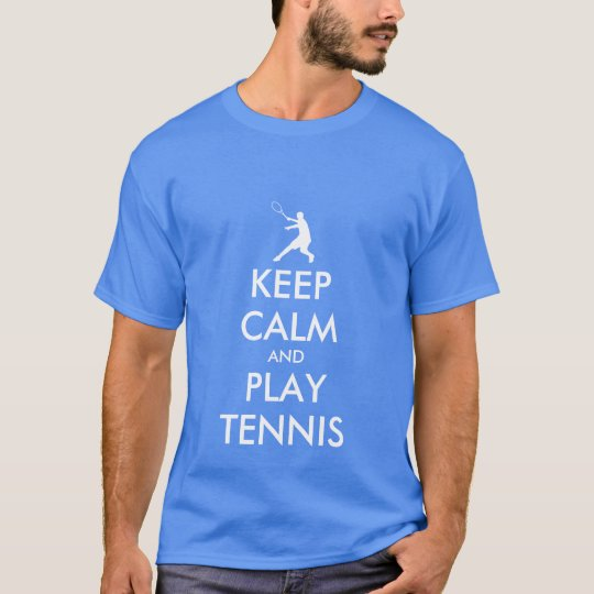 Blue Keep calm and play tennis tee shirt
