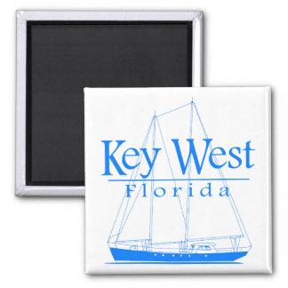 Blue Key West Sailing Square Magnet