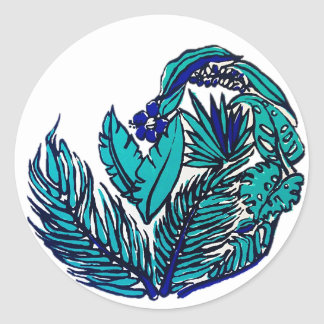 Blue Keys Round Sticker