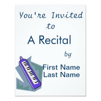 Blue Keytar portable 80s keyboard piano graphic 11 Cm X 14 Cm Invitation Card