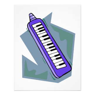 Blue Keytar portable 80s keyboard piano graphic Personalized Announcement