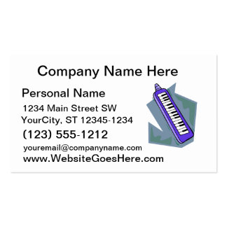 Blue Keytar portable 80s keyboard piano graphic Pack Of Standard Business Cards