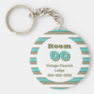 Blue Khaki stripes hotel room Basic Round Button Key Ring