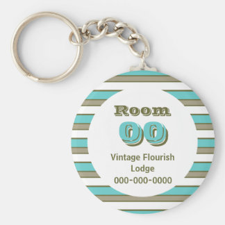 Blue Khaki stripes hotel room Key Ring