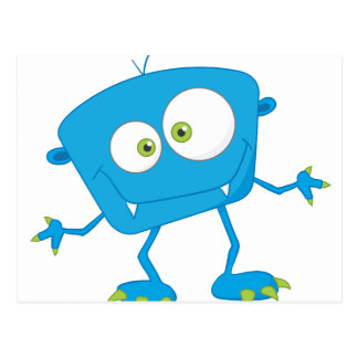 Blue Kids Monster Alien Postcard