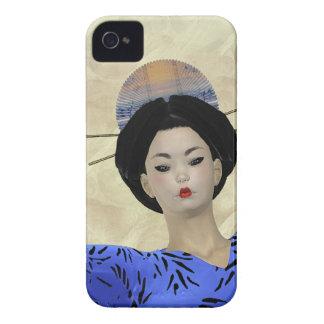 Blue Kimono Geisha Illustration iPhone 4 Case-Mate Cases