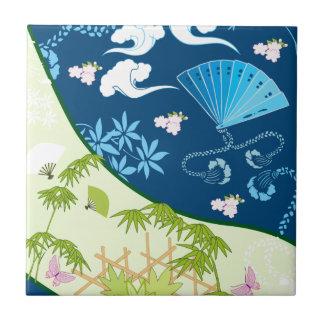 Blue Kimono Ceramic Tile