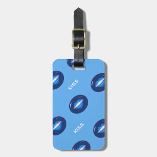 Blue kisses lips luggage tag