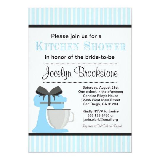 Blue Kitchen Bridal shower invitation for wedding