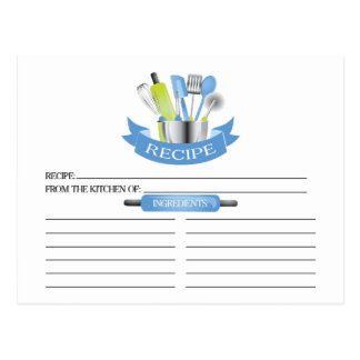 Blue Kitchen Tools Bridal Shower Recipe Cards Postcard