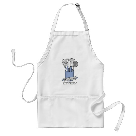 Blue Kitchen Utensil Caddy | Rolling Pin Monogram Standard Apron