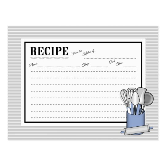 Blue Kitchen Utensil Caddy Rolling Pin Recipe Card