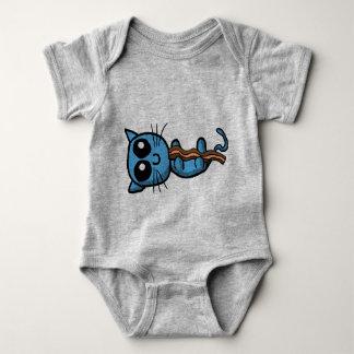 Blue kitten holding bacon strip shirt