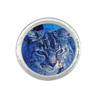 Blue Kitty Custom Pet Photo Round Ring