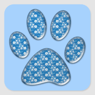 blue kitty paw print square stickers