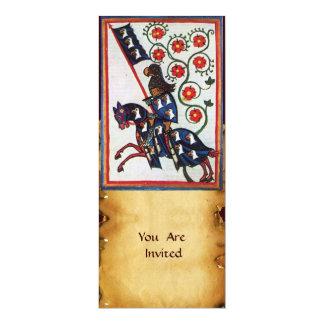 BLUE KNIGHT ON HORSEBACK 10 CM X 24 CM INVITATION CARD