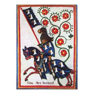 BLUE KNIGHT ON HORSEBACK 11 CM X 16 CM INVITATION CARD
