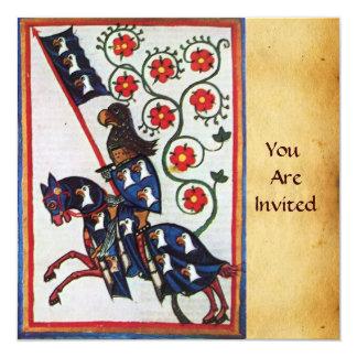 BLUE KNIGHT ON HORSEBACK 13 CM X 13 CM SQUARE INVITATION CARD