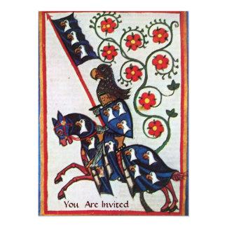 BLUE KNIGHT ON HORSEBACK 14 CM X 19 CM INVITATION CARD