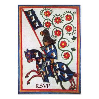 BLUE KNIGHT ON HORSEBACK rsvp 9 Cm X 13 Cm Invitation Card
