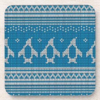 Blue Knitted Background Beverage Coaster