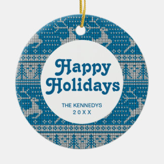 Blue Knitted Background Christmas Ornament