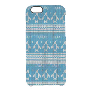 Blue Knitted Background Clear iPhone 6/6S Case
