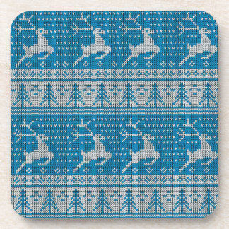 Blue Knitted Background Coaster