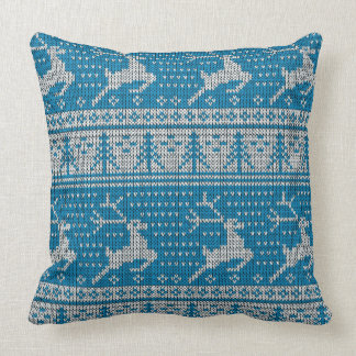 Blue Knitted Background Cushion