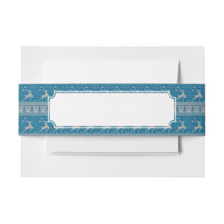 Blue Knitted Background Invitation Belly Band