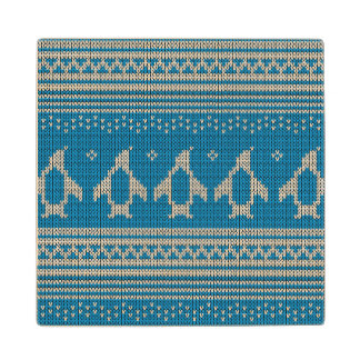 Blue Knitted Background Maple Wood Coaster