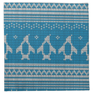 Blue Knitted Background Napkin