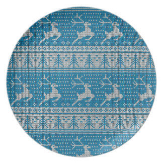 Blue Knitted Background Party Plates