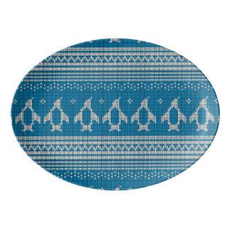 Blue Knitted Background Porcelain Serving Platter