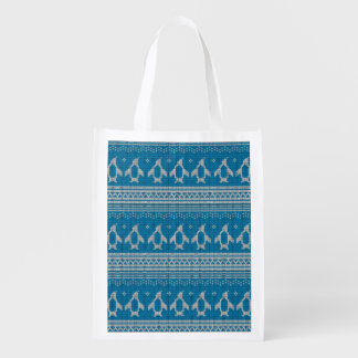 Blue Knitted Background Reusable Grocery Bag