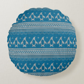 Blue Knitted Background Round Cushion