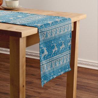 Blue Knitted Background Short Table Runner