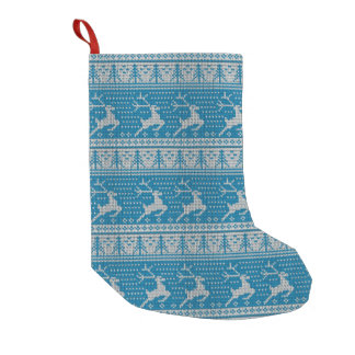 Blue Knitted Background Small Christmas Stocking
