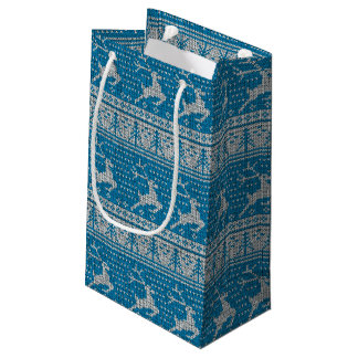 Blue Knitted Background Small Gift Bag