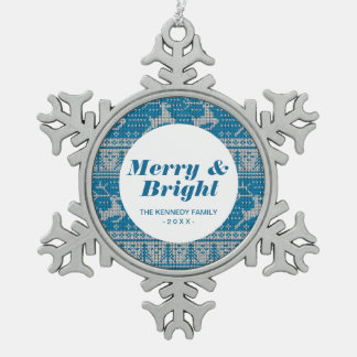 Blue Knitted Background Snowflake Pewter Christmas Ornament