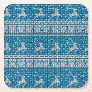 Blue Knitted Background Square Paper Coaster