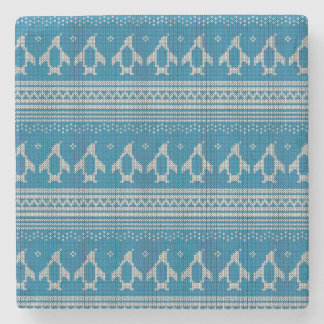 Blue Knitted Background Stone Coaster