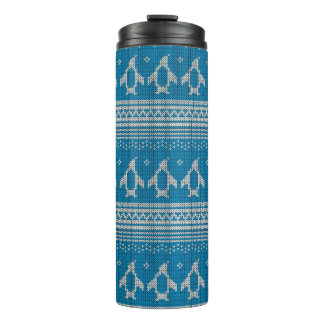 Blue Knitted Background Thermal Tumbler