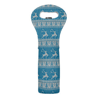 Blue Knitted Background Wine Bag