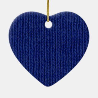 Blue knitted cotton close up christmas ornament