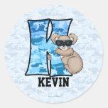 "Blue Koala Monogram ""K"" Personalised Stickers"
