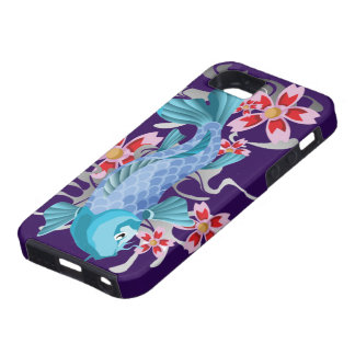 Blue Koi Fish on indigo iPhone 5 Cases